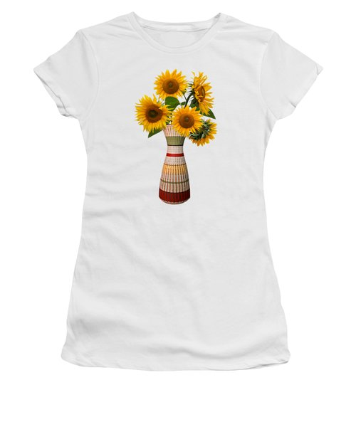 Rustic Flower Vase With Sunflowers Women's T-Shirt