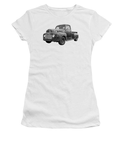 Rusty Ford Farm Truck Black And White Women's T-Shirt