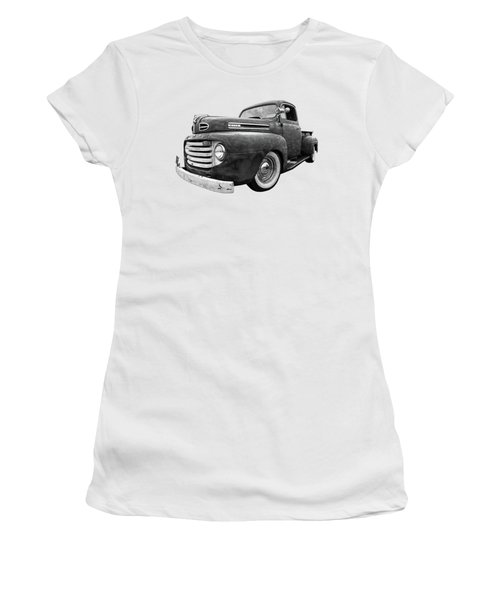 Rusty Jewel In Black And White - 1948 Ford Women's T-Shirt