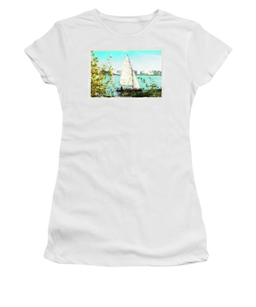 Sailboat On The River Watercolor Women's T-Shirt
