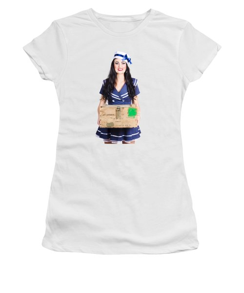 Sailor Pin Up Holding Nautical Supplies Women's T-Shirt