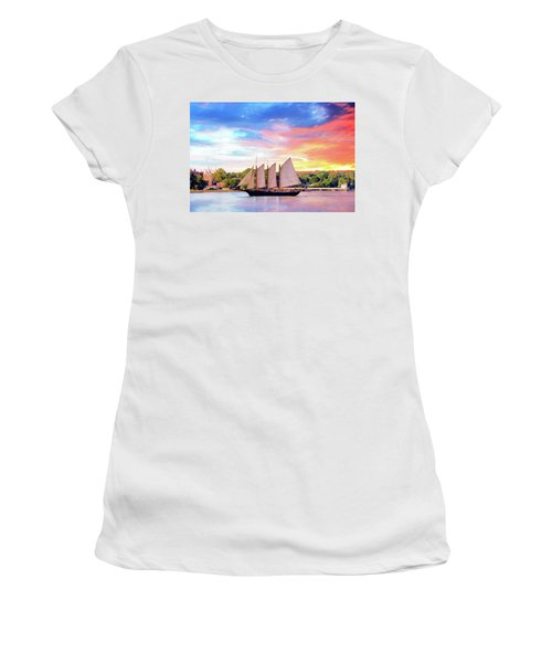 Sails In The Wind At Sunset On The York River Women's T-Shirt