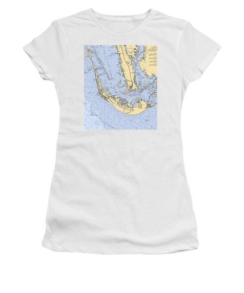 Sanibel And Captiva Islands Nautical Chart Women's T-Shirt