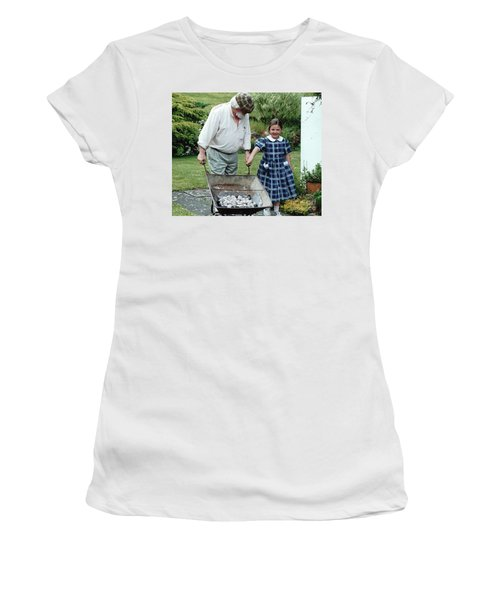 Women's T-Shirt featuring the painting Santi ? by Val Byrne