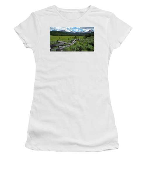 Sawtooth Range And 1975 Pole Fence Women's T-Shirt