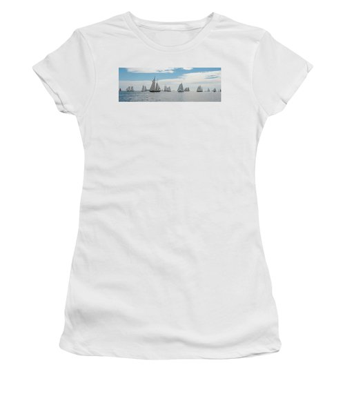 Women's T-Shirt (Athletic Fit) featuring the photograph Schooners On The Chesapeake Bay by Mark Duehmig