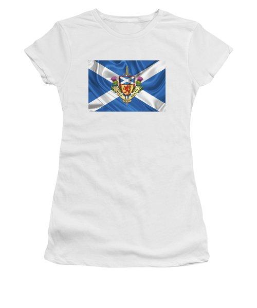 Scotland Forever - Alba Gu Brath - Symbols Of Scotland Over Flag Of Scotland Women's T-Shirt