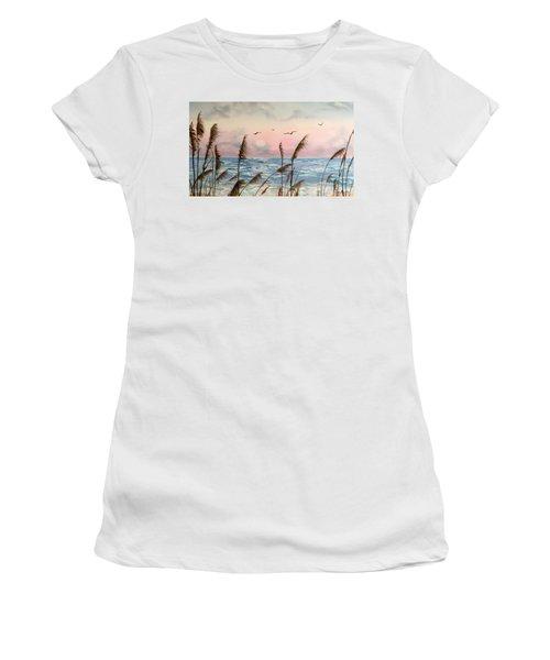 Sea Oats And Seagulls  Women's T-Shirt
