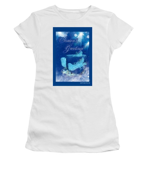 Women's T-Shirt (Athletic Fit) featuring the mixed media Season's Greetings Blue With Bird by Rachel Hannah