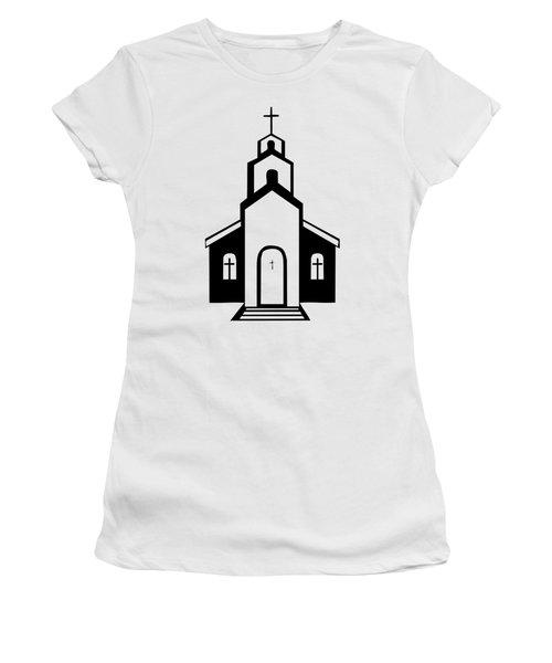 Silhouette Of A Christian Church Women's T-Shirt
