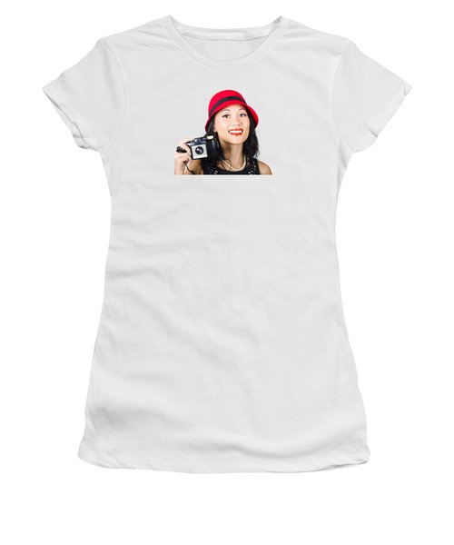Smiling Woman Holding Retro Camera In Hand Women's T-Shirt