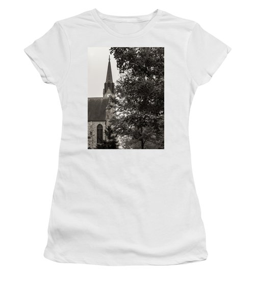 Women's T-Shirt featuring the photograph Stone Chapel - Black And White by Allin Sorenson