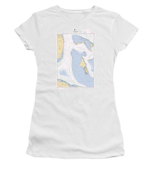 Straits Of Florida, Eastern Part Noaa Nautical Chart Women's T-Shirt