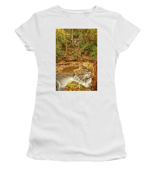 Women's T-Shirt (Athletic Fit) featuring the photograph Stream Waterfalls by Meta Gatschenberger