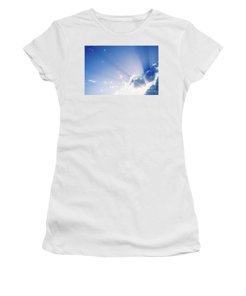 Sunbeams Rising From A Large Cloud In Intense Blue Sky On A Summer Afternoon Women's T-Shirt