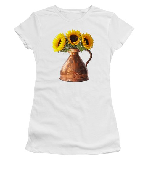 Sunflowers In Copper Pitcher On White Women's T-Shirt (Athletic Fit)