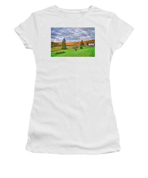 Women's T-Shirt (Athletic Fit) featuring the photograph Sunset Storm Rainbow - Upstate New York by Lynn Bauer