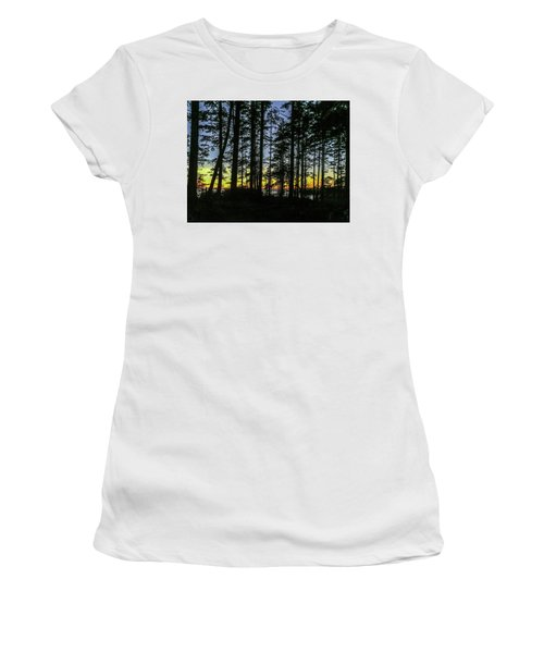 Women's T-Shirt (Athletic Fit) featuring the photograph Sunset Thru The Trees by Ed Clark