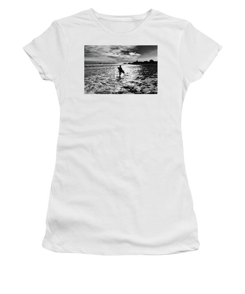 Women's T-Shirt (Athletic Fit) featuring the photograph Surfer Silhouette by John Rodrigues