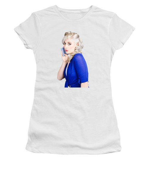 Surprised Pin Up Girl With Wash Cloth Women's T-Shirt