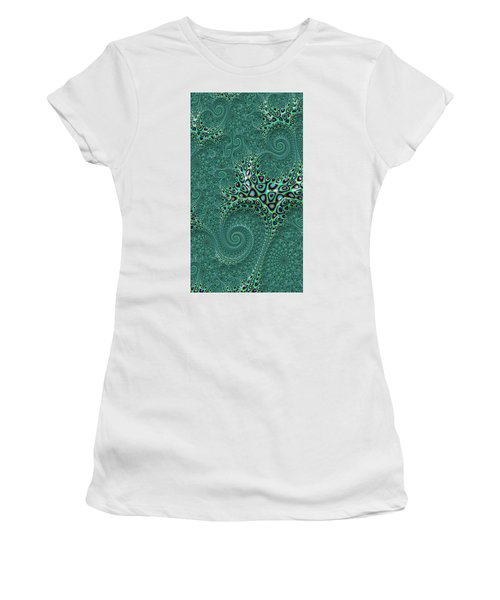 Women's T-Shirt featuring the digital art Teal Octopus Fractal Abstract by Shelli Fitzpatrick