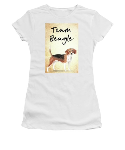 Women's T-Shirt featuring the painting Team Beagle Cute Art For Dog Lovers by Matthias Hauser
