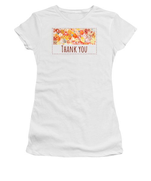 Women's T-Shirt featuring the painting Thank You #2 by Maria Langgle