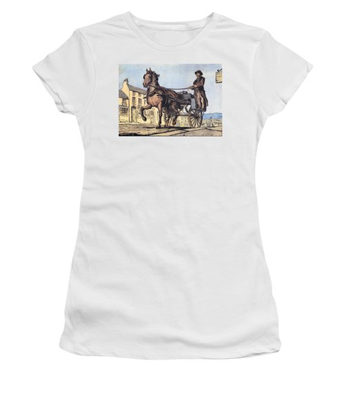 Women's T-Shirt featuring the painting The Post Car, Clifden, Galway by Val Byrne