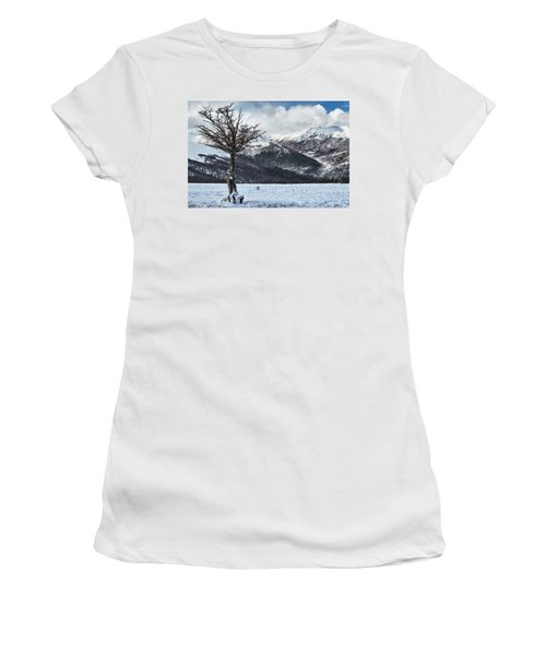 The Tree And The Beautiful Snowy Paradise Women's T-Shirt