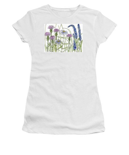 Thistle Asters Blue Flower Watercolor Wildflower Women's T-Shirt