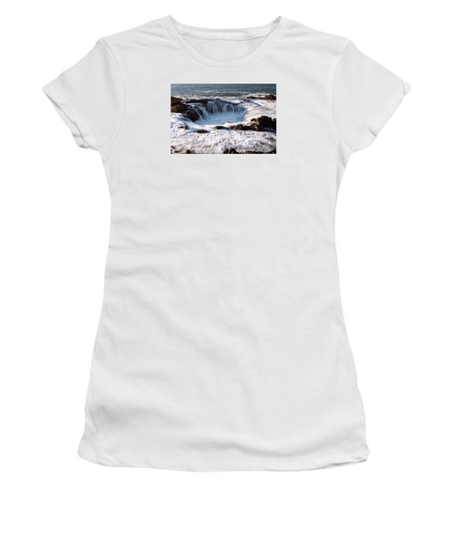 Women's T-Shirt (Athletic Fit) featuring the photograph Thor's Well Yachats Oregon 102518 by Rospotte Photography