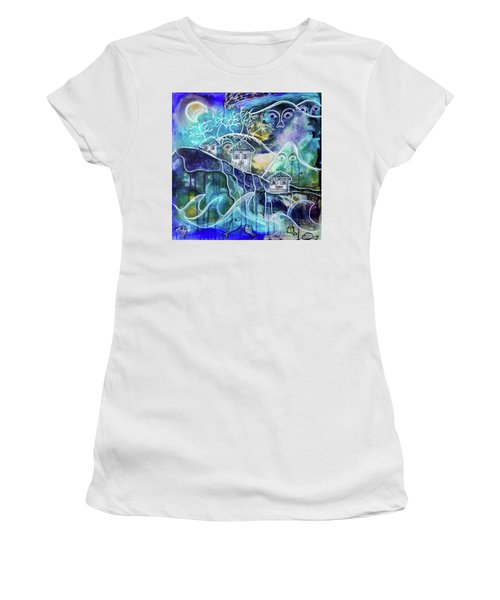 Three Houses On A Cliff Women's T-Shirt