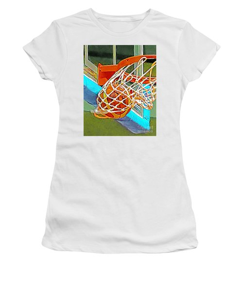 Women's T-Shirt featuring the photograph Three Point Shot From Downtown Nothing But Net Basketball 20190106 by Wingsdomain Art and Photography