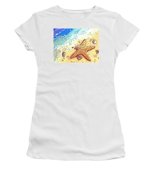 Tidal Beach Starfish Women's T-Shirt (Athletic Fit)