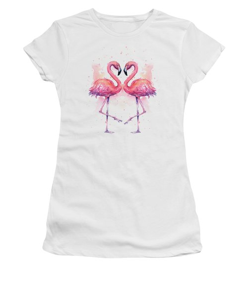 Two Flamingos In Love Watercolor Women's T-Shirt (Athletic Fit)
