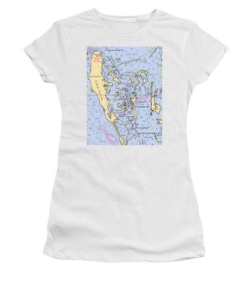 Useppa,cabbage Key,cayo Costa Nautical Chart Women's T-Shirt