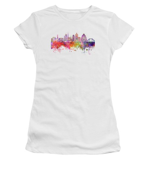Vancouver V2 Skyline Watercolor Backgropund Women's T-Shirt