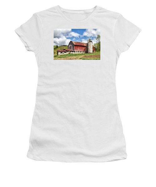 Women's T-Shirt (Athletic Fit) featuring the photograph Vermont Barn And Silo  by Betty Pauwels