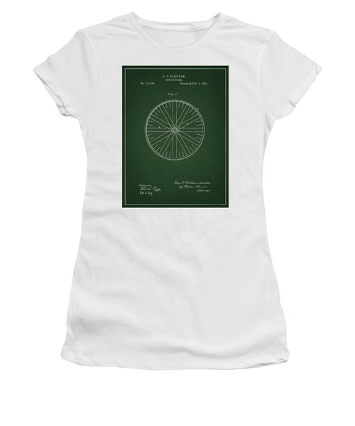 Women's T-Shirt (Athletic Fit) featuring the drawing Vintage Bicycle Tire Patent by Dan Sproul