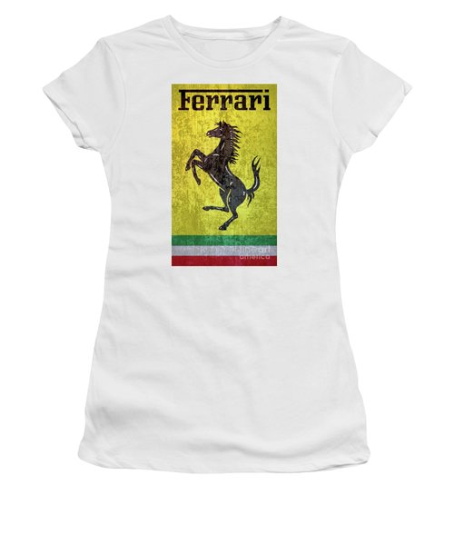 Vintage Ferrari Sign On Barn Siding Women s T-Shirt 9047f63e3