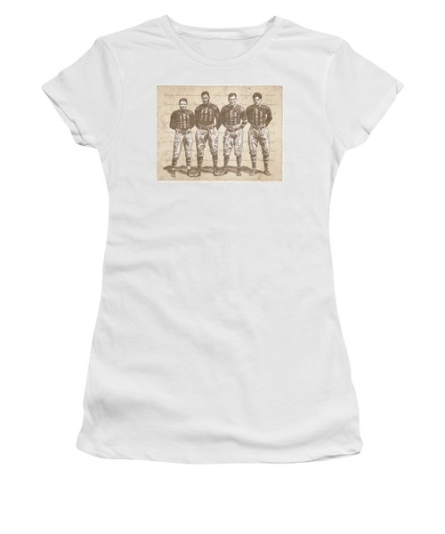 Women's T-Shirt featuring the drawing Vintage Football Heroes by Clint Hansen