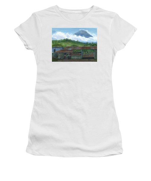 Volcano Agua, Guatemala, With Fruit Stand Women's T-Shirt