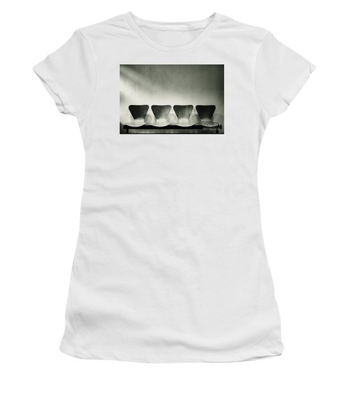 Waiting Room With Empty Wooden Chairs, Concept Of Waiting And Passage Of Time, Black And White Image, Free Space For Text. Women's T-Shirt