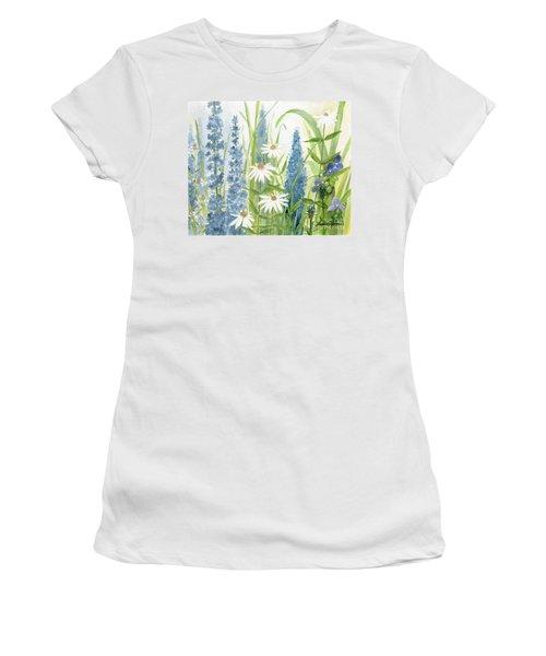 Watercolor Blue Flowers Women's T-Shirt