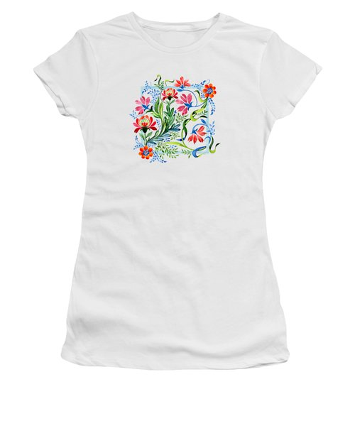 Watercolor Garden Folk Floral In Vintage Style Women's T-Shirt