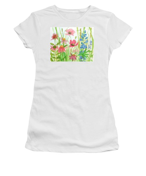 Watercolor Touch Of Blue Flowers Women's T-Shirt
