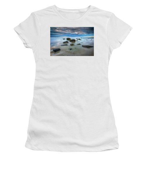 Women's T-Shirt (Athletic Fit) featuring the photograph Wells Beach In Blue by Rick Berk