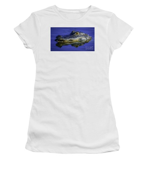 Women's T-Shirt featuring the photograph Wetlands Gator Close-up by Tom Claud
