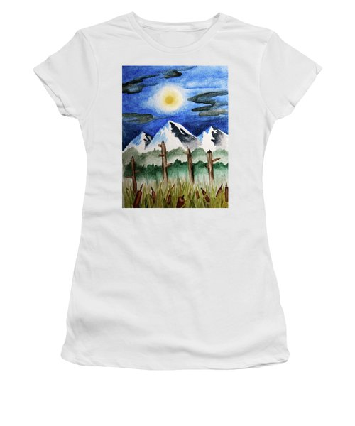 Wetlands With Mountains  Women's T-Shirt