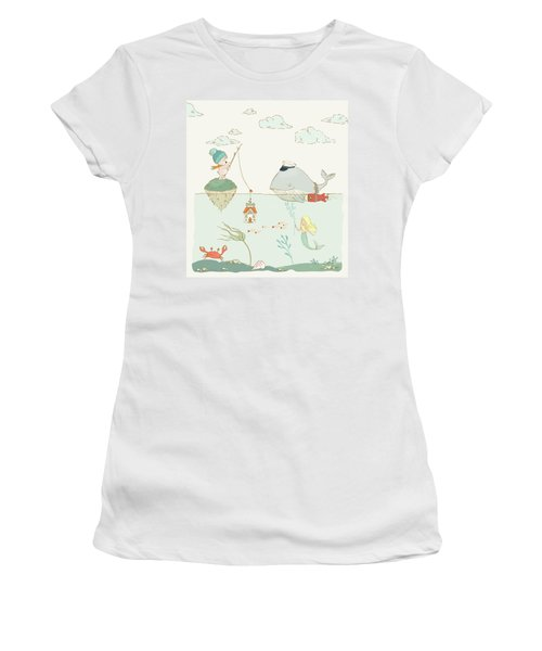 Women's T-Shirt featuring the painting Whale And Bear In The Ocean Whimsical Art For Kids by Matthias Hauser